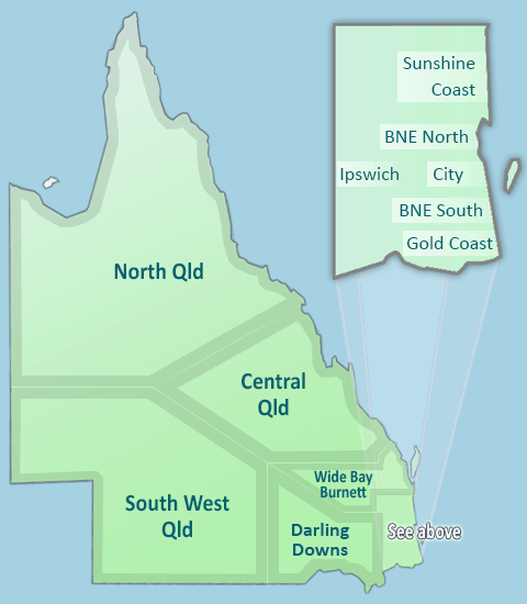 Map of Presbyterian Church of Queensland churches within regions of Queensland.